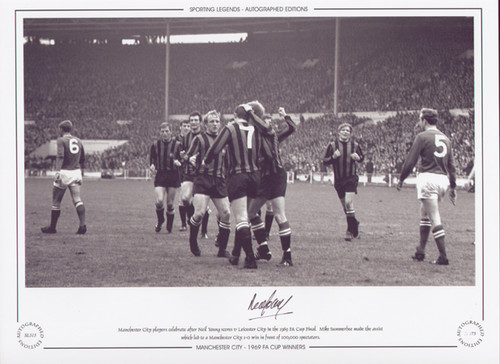 Manchester City players celebrate after Neil Young scores V Leicester City in the 1969 FA Cup Final. Mike Summerbee made the assist which led to a Manchester City 1-0 win
