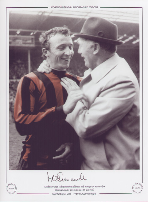Manchester City - 1969 FA Cup Winners. Manchester City's Mike Summerbee celebrates with manager Joe Mercer after defeating Leicester City in the 1969 FA Cup Final.