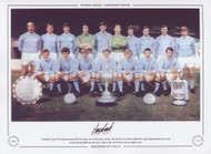 Manchester City's all conquering squad of the late 1960s, prior to the 1969/70 season. The previous two seasons yielded the League Championship, the FA Cup and the Charity Shield and more was to come as the Cup Winners Cup was added in 1970.