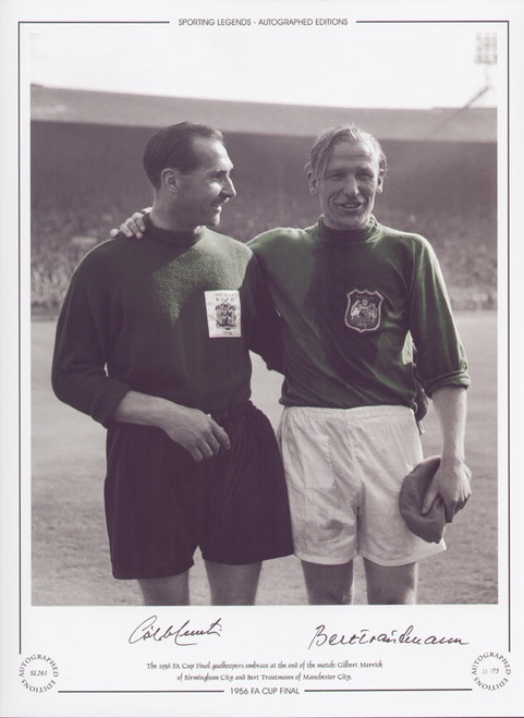 The 1956 FA Cup Final goalkeepers embrace at the end of the match: Gilbert Merrick of Birmingham City and Bert Trautmann of Manchester City.