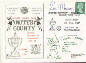 Notts County Division IV Champions 1971 Dawn First Day Cover - Signed Don Masson