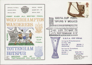 An original first day cover to celebrate The first ever all British UEFA Cup Final, Tottenham Hotspur V Wolverhampton Wanderers, issued in May 1972. Complete with filler card.