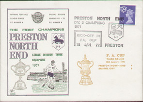 An original first day cover to celebrate Preston North End division III champions 1971. Issued January 1972. Complete with filler card.