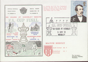 An original first day cover to celebrate The FA Cup Final 1973, Sunderland V Leeds United, issued in May 1973. Complete with filler card.