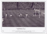 Peter McParland - Aston Villa - 1957 FA Cup Final. Aston Villa's Peter McParland hooks the ball past Manchester United stand in keeper Jackie Blanchflower, to score his second goal in the 1957 FA Cup Final. McParland scored both goals to give Villa a 2-1 victory.