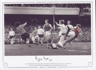Arsenal's Eddie Kelly fires the winning goal past Stoke City keeper, Gordon Banks in May 1971. This was a significant victory on their way to achieving a league and cup double in the 1970-71 season.