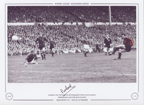 Manchester City's Neil Young scores the winning goal in front of 100,000 spectators, as City defeat Leicester in the 1969 FA Cup Final.