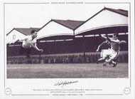 Nat Lofthouse - Football League 7 V Irish League 1 - 1952. Nat Lofthouse dives to head his fourth goal past goalkeeper Smyth (Distillery). Lofthouse scored six of the seven goals creating a new inter-league record.