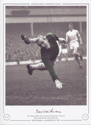 Bert Trautmann makes a fine save against West Ham United at Upton Park, during a League Division 1 game, November 1959.