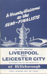 1963 FA Cup Semi Final Programme Liverpool V Leicester City