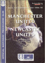 original Official 1999 FA Cup Final programme. The game, Manchester United V Newcastle United was played on 22nd May 1999 at Wembley Stadium. Manchester United won the game and went on to secure a famous treble of League title, Champions League and FA Cup.