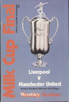 original Official 1983 League Cup Final programme. The game, Liverpool V Manchester United was played on 26th March 1983 at Wembley Stadium.