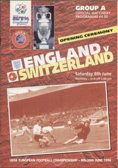 original Official Euro 1996 Group A opening ceremony programme. The game, England v Switzerland was played on 8th June 1996 at Wembley Stadium.