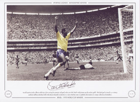 Brazil captain Carlos Alberto celebrates after scoring Brazil's 4th goal in the 1970 World Cup Final against Italy.