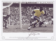 Jairzinho turns away in celebration after scoring his goal for Brazil in the 1970 World Cup Final.