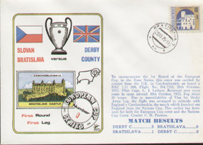 original flown first day cover to celebrate Derby County in Europe 1975, issued in October 1975.