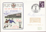 original flown first day cover to celebrate Everton V AC Milan in Europe 1975, issued in September 1975. The cover has been signed by former Everton manager Billy Bingham is is a limited edition of just 250.