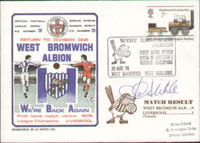 original first day cover to celebrate West Brom's return to Division one, issued in August 1976. The cover has been signed by former West Brom Captain John Wyle and is part of a limited edition of just 236.