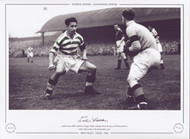 Celtic's Sean Fallon confronts Rangers keeper George Niven during an old firm match at Celtic Park on the 20th September 1952.