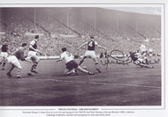 Tottenham Hotspur's Jimmy Greaves scores the opening goal in the 1962 FA Cup Final, blasting a shot past Burnley's Miller, Adamson, Cummings & Blacklaw, watched with anticipation by Spurs team mate Bobby Smith.