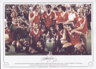 May 28th 1980, Santiago Bernabeu Estadio, Madrid - Nottingham Forest players celebrate winning the European Cup after their 1-0 victory over Hamburger SV of West Germany. A goal from John Robertson in the 21st minute was enough to earn Forest back to back European titles.