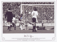 Alan Taylor scores his and West Ham United's second goal against Fulham in the 1975 FA Cup Final at Wembley Stadium. The Hammers defeated their London neighbours by 2 goals to nil to claim their second FA Cup title after their first victory in 1964.
