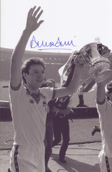 West Ham United's Alvin Martin celebrates winning the 1980 FA Cup, a 1-0 victory against Arsenal. The photograph was signed by Alvin Martin at a commercial signing session held in January 2010.