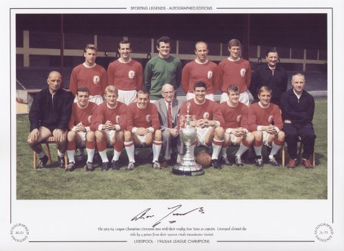 The 1963/64 League Champions Liverpool pose with their trophy, Ron Yeats as captain. Liverpool claimed the title by 4 points from their nearest rivals Manchester United