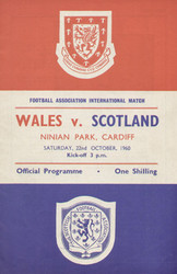 original Official programme for the international match Wales V Scotland played on 22 October 1960 at Ninian Park, Cardiff.