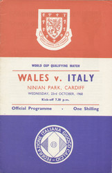 original Official programme for the world cup match Wales V Italy played on 23 October 1968 at Ninian Park, Cardiff.
