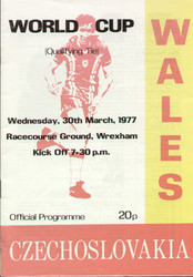 original Official programme for the World Cup Qualifying match Wales V Czechoslovakia played on 30 March 1977 at The Racecourse, Wrexham.