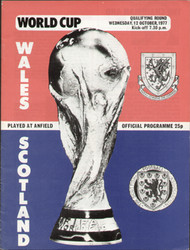 original Official programme for the World Cup Qualifying match Wales V Scotland played on 12 October 1977 at Anfield.
