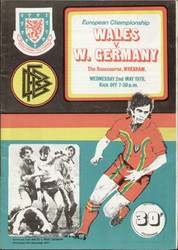 original Official programme for the European Championship match Wales V West Germany played on 2 May 1979 at The Racecourse, Wrexham.