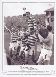 Celtic captain Billy McNeill is chaired by teammates as he celebrates his side's 3-2 victory over Dunfermline Athletic in the 1965 Scottish Cup Final. Bertie Auld grabbed a brace and McNeil scored a fine header to defeat a galant Dunfermline.