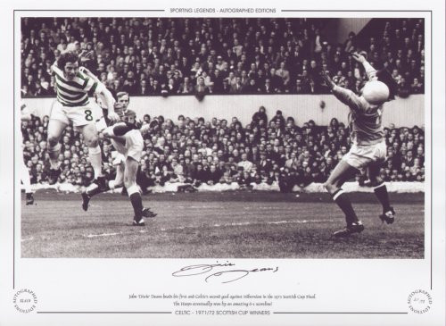 John 'Dixie' Deans heads his first and Celtic's second goal against Hibernian in the 1972 Scottish Cup Final. the Hoops eventually won by an amazing 6-1 scoreline.