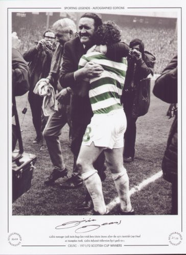 Celtic manager Jock Stein hugs hat-trick hero Dixie Deans after the 1972 Scottish Cup Final at Hampden Park. Celtic defeated Hibernian by 6 goals to 1.