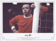 Manchester United's Nobby Stiles stares into the camera, as he leans against a goalpost circa 1970. Nobby played a total of 394 games for the Red Devils' scoring 19 goals.