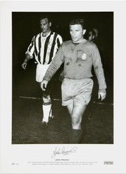 John Charles leaves the pitch with the legendary Ferenc Puskas after Juventus European Cup Quarter Final replay 3-1 defeat against Real Madrid in Paris on 28 February 1962. The pictures were signed at Aberystwyth FC.