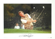 Bernhard Langer blasts out of a bunker during Europe's victory over the USA in the 1995 Ryder Cup.
