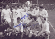Superb photograph of the QPR team celebrating after a thrilling win against West Brom in the League Cup Final 1967.  Goals from Roger Morgan, Rodney Marsh and a last gasp winner from Mark Lazarus capped a remarkable comeback as Rangers came from 2 down to win 3-2.  Signed by the goalscorers at a commercial signing held in October 2010.