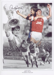 Charlie Nicholas joined Arsenal in 1983 scoring 54 goals in 184 appearances before leaving in 1987. This superb montage was signed by Charlie Nicholas at a private signing session held on 29 April 2010.