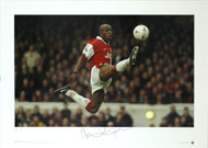 Arsenal Legend Ian Wright in action. This stunning Limited Edition Picture of just 500 was signed by Ian Wright, at a specially commissioned signing session.