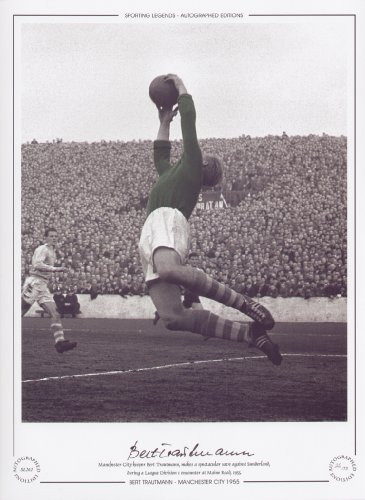 Manchester City goalkeeper Bert Trautmann, makes a spectacular save against Sunderland,during a League Division 1 encounter at Maine Road 1955.