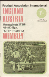 On offer is an original Official programme for the International match England V Austria, the game was played on 20 October 1965 at Wembley Stadium.