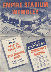 original Official 1954 FA Cup Final Song Sheet. The game, Preston North End V West Bromwich Albion was played on 1 May 1954 at Wembley Stadium.