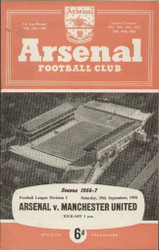 original Official programme for the League Division 1 match Arsenal V Manchester United played on 29 September 1956 at Highbury.