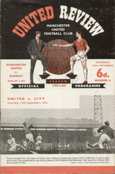 original Official programme for the League Division 1 match Manchester United V Burnley played on 22 September 1962 at Old Trafford.