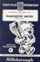 original Official programme for the League Division 1 match Sheffield Wednesday V Manchester United played on 29 January 1966 at Hillsborough.