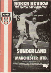 original Official programme for the League Division 2 match Sunderland V Manchester United played on 18 January 1975 at Roker Park