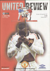 original Official programme for the Premier League match Manchester United V Aston Villa played on 15 December 1997 at Old Trafford.